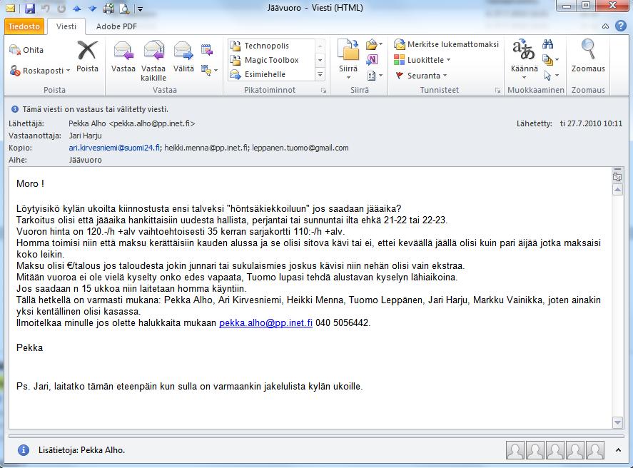 2010-07-27 alkuperainen sahkoposti josta HINAa alettiin kasaamaan