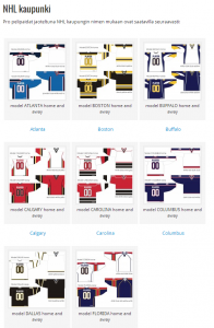 Tacklan NHL-pelipaidat valikoima