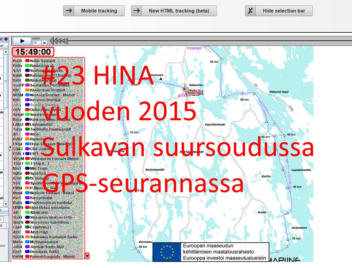 HINA #23 Sulkavan suursouduissa 2015 GPS-seurannassa